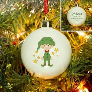 Christmas Elf Bone China Bauble